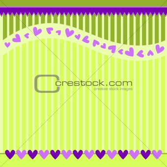 Green striped background with lilac hearts