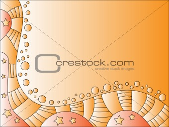 Beautiful orange background with stars and dots