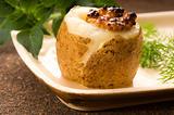 Baked potato with sour cream, grain Dijon mustard and herbs