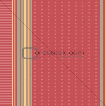 Beautiful red background with stripes and hearts