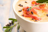fresh melon soup with parma ham and lavender flower