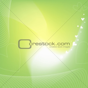 green, yellow and white background with hearts