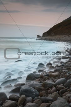 Russian, Primorye,foggy stones on afterglow