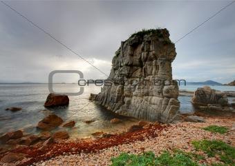 Russia, Primorye, sunset rock