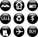 set of black shiny icon travel sign