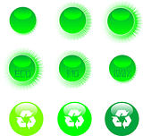 set of eco symbol icon set green