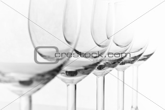 empty wineglasses on white background