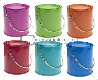 Set of 6 Colored Paint Cans
