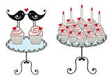 birthday cupcakes, vector