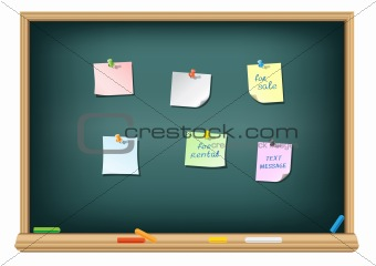 paper and pushpin on the blackboard