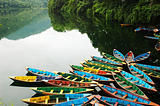 Colorful tour boats at lakeside