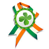 Beer cap with clover leaf and flag