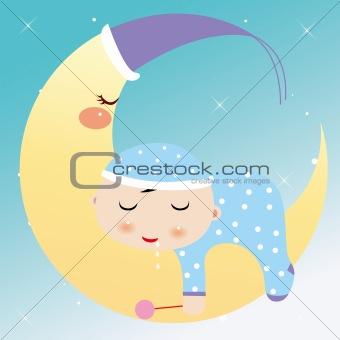 little boy dreaming in the moon
