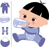 baby in the milk,, baby clothing and bottles