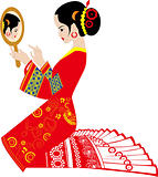 Traditional wedding - a chinese woman make-up for wedding
