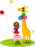 little girl send balloons to the giraffe