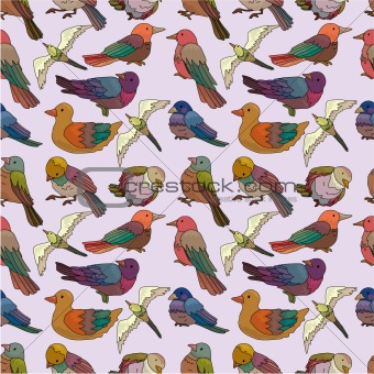 cartoon bird seamless pattern