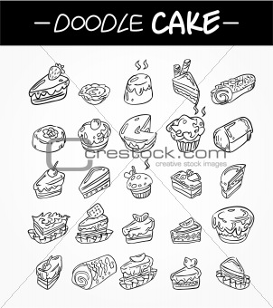 hand draw cartoon cake icons set