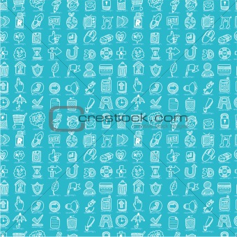 hand draw web icons seamless pattern