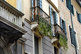Balconies and building exterior in Padua