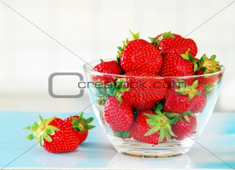 Appetizing red strawberries