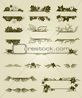 Vector set of vintage design elements with flowers