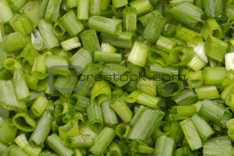 closeup chopped green onion background