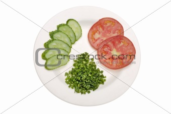 sliced tomato, cucumber and green onion on white plate