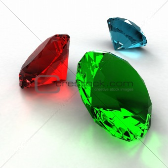 Diamond of three colors on a white background