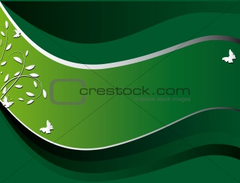 Green banner on the plant theme