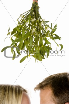 Couple standing beneath mistletoe