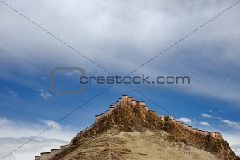 Fortress on mountain in Tibet