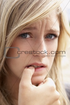 Portrait Of Girl Biting Nails