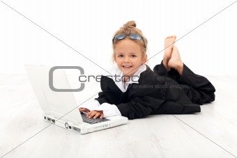 Little girl playing business woman