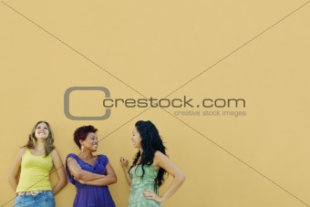 three women talking and having fun