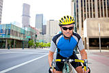 Male bike rider in downtown