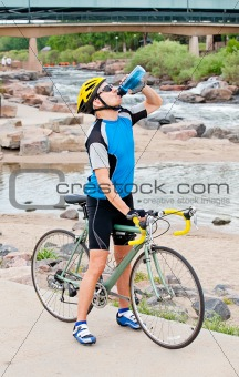 Cyclist taking a break