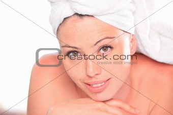 Beautiful woman relaxing in a spa