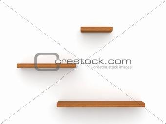 Three empty wood shelves