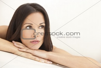 Beautiful Brunette Woman Resting on Her Hands