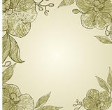Vector vintage frame with flowers - orchid