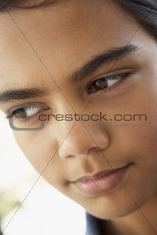 Portrait Of Pre-Teen Girl Looking Worried