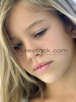 Portrait Of Girl Looking Sad