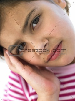 Portrait Of Girl Looking Worried