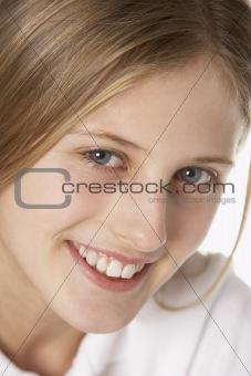 Portrait Of Pre-Teen Girl Smiling