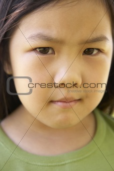 Portrait Of Girl Frowning