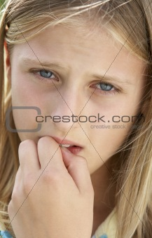 Portrait Of Girl Biting Nails