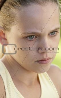 Portrait Of Girl Looking Upset