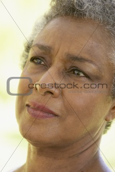 Portrait Of Senior Woman Looking Anxious