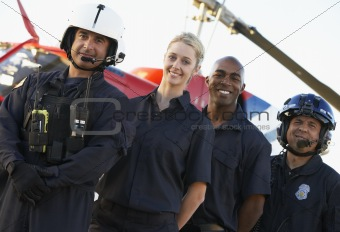 Portrait of paramedics standing in front of Medevac